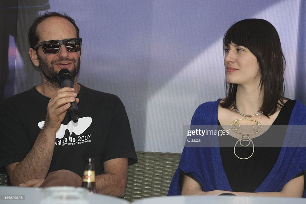 Carlos Reygadas and Nathalia Acevedo speak during a press conference of the movie Post Tenebras Lux on November 20, 2012 in Mexico City, Mexico.