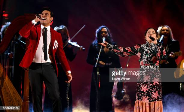 Carlos Rivera and Natalia Lafourcade perform onstage at the 18th Annual Latin Grammy Awards at MGM Grand Garden Arena on November 16 2017 in Las...