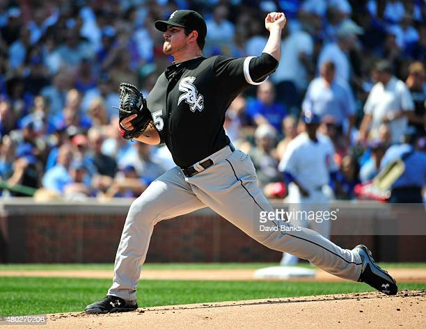 Carlos Rodon of the Chicago White Sox pitches against the Chicago Cubs during the first inning on July 10 2015 at Wrigley Field in Chicago Illinois
