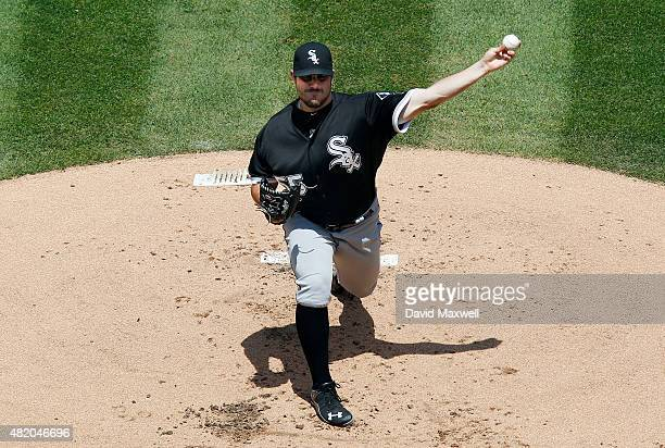 Carlos Rodon of the Chicago White Sox pitches against the Cleveland Indians during the first inning of their game on July 26 2015 at Progressive...