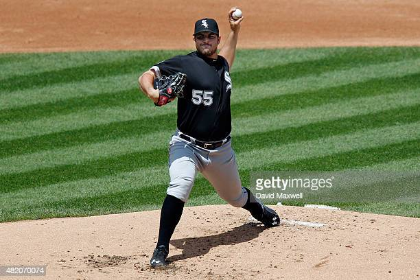 Carlos Rodon of the Chicago White Sox pitches against the Cleveland Indians during the first inning of a game on July 26 2015 at Progressive Field in...