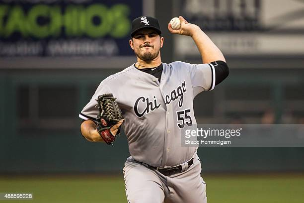 Carlos Rodon of the Chicago White Sox pitches against the Minnesota Twins on September 2 2015 at Target Field in Minneapolis Minnesota The Twins...