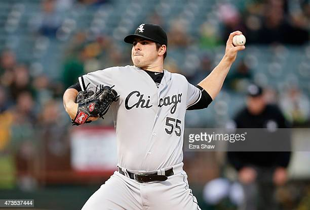 Carlos Rodon of the Chicago White Sox pitches against the Oakland Athletics in the first inning at Oco Coliseum on May 15 2015 in Oakland California