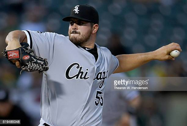 Carlos Rodon of the Chicago White Sox pitches against the Oakland Athletics in the bottom of the first inning during a Major League Baseball game at...
