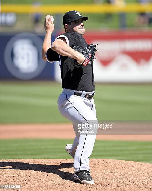 Carlos Rodon of the Chicago White Sox pitches during the spring training game between the Chicago White Sox and San Diego Padres on March 6 2015 at...