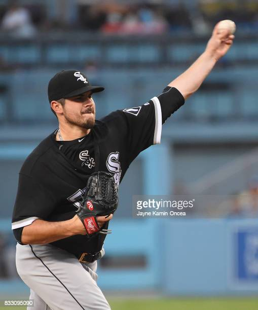 Carlos Rodon of the Chicago White Sox pitches in the first inning of the game against the Los Angeles Dodgers at Dodger Stadium on August 16 2017 in...