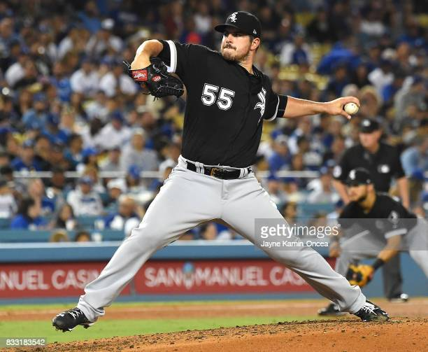 Carlos Rodon of the Chicago White Sox pitches in the fourth inning of the game against the Los Angeles Dodgers at Dodger Stadium on August 16 2017 in...