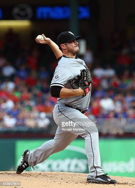 Carlos Rodon of the Chicago White Sox throws against the Texas Rangers in the first inning at Globe Life Park in Arlington on June 4 2015 in...