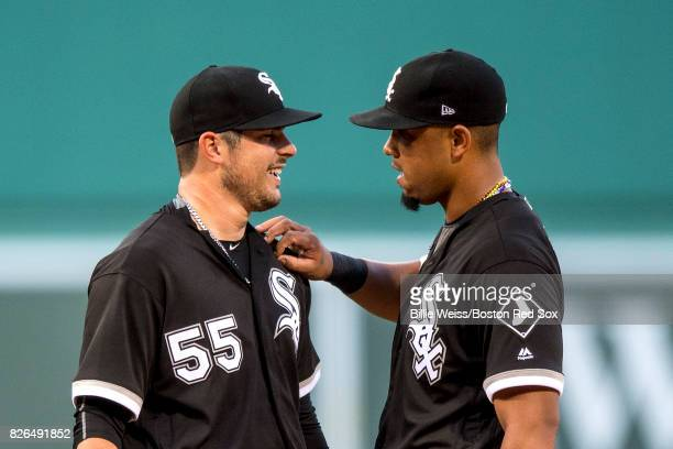 Carlos Rodon reacts with Jose Abreu of the Chicago White Sox during the first inning of a game against the Boston Red Sox on August 4 2017 at Fenway...
