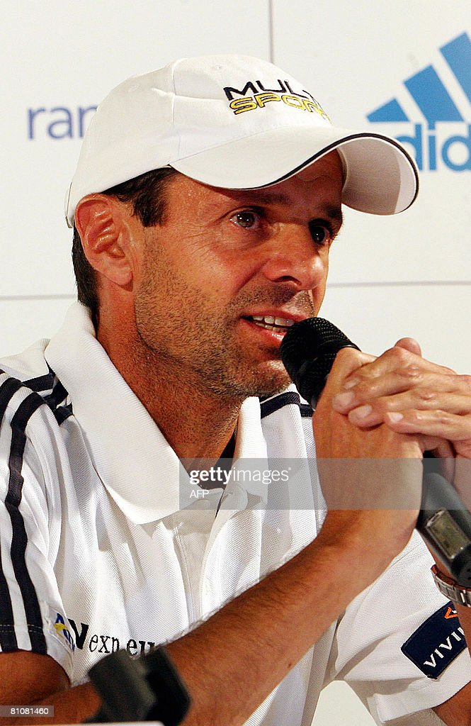 Carlos Rodriguez coach of women's world number one tennis player Justine Henin of Belgium speaks at a press conference on May 14 at the Justine N1...
