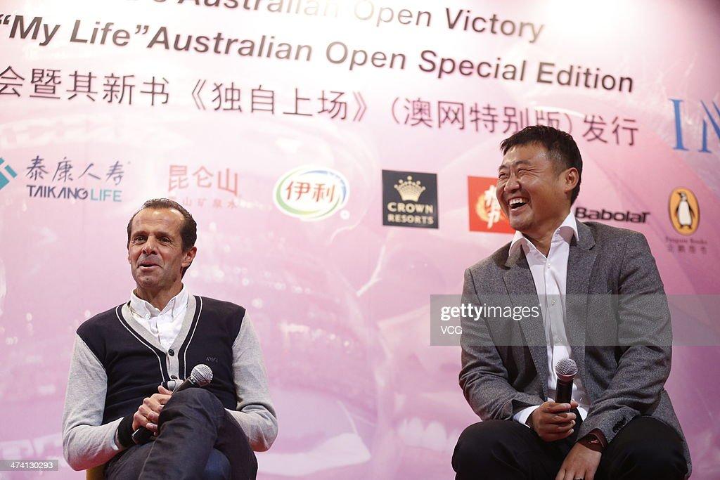 Carlos Rodriguez Li Na's coach and Jiang Shan Li Na's husband attend the celebration of Li Na's Australian Open victory and the launch of 'My Life'...