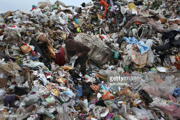 Carlos Roman searches for recyclables at the Tirabichi garbage dump on March 5 2013 in Nogales Mexico About 30 families including Carlos live at the...