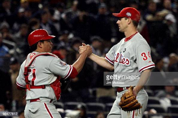 Carlos Ruiz and Cliff Lee of the Philadelphia Phillies celebrate after their 61 win against the New York Yankees in Game One of the 2009 MLB World...