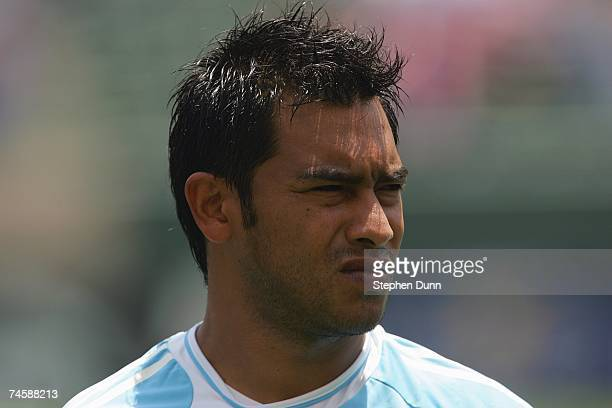 Carlos Ruiz of Guatemala looks on prior to their CONCACAF Gold Cup first round match against El Salvador on June 9 2007 at the Home Depot Center in...