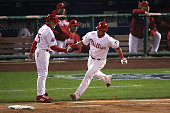 Carlos Ruiz of the Philadelphia Phillies celebrates his solo homerun against the Tampa Bay Rays during game three of the 2008 MLB World Series on...