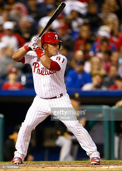 Carlos Ruiz of the Philadelphia Phillies delivers a pitch against the Pittsburgh Pirates during the third inning of a game at Citizens Bank Park on...