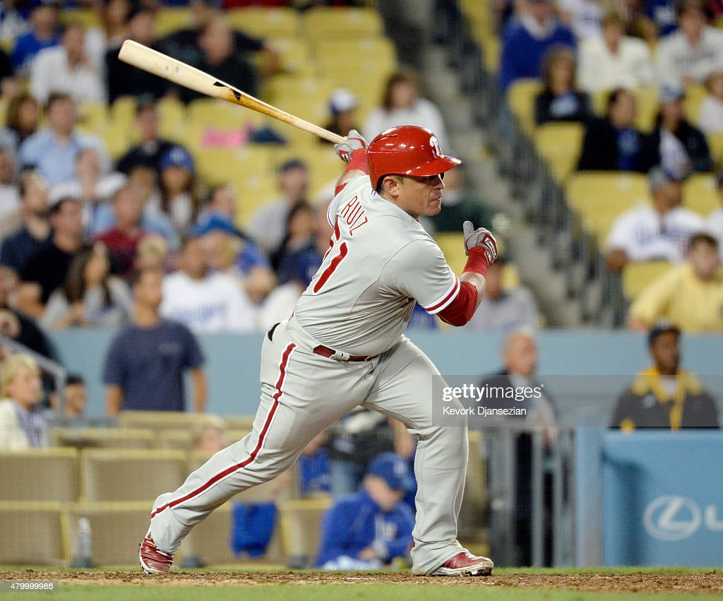 Carlos Ruiz of the Philadelphia Phillies hits a double against pitcher Clayton Kershaw of the Los Angeles Dodgers in the ninth inning on July 8 2015...