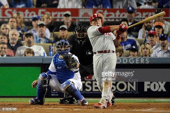 Carlos Ruiz of the Philadelphia Phillies hits a three run home run off of pitcher Clayton Kershaw of the Los Angeles Dodgers in the fifth inning in...