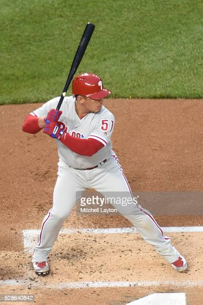 Carlos Ruiz of the Philadelphia Phillies prepares for a pitch during a baseball game against the Washington Nationals at Nationals Park on April 27...