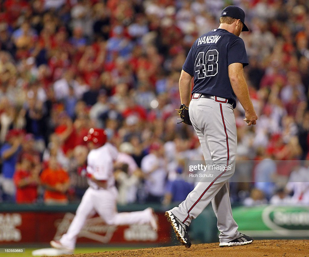 Carlos Ruiz #51 of the Philadelphia Phillies rounds third base after hitting a home run off <a gi-track='captionPersonalityLinkClicked' href=/galleries/search?phrase=Tommy+Hanson&family=editorial&specificpeople=3358060 ng-click='$event.stopPropagation()'>Tommy Hanson</a> #48 of the Atlanta Braves in the fourth inning during a MLB baseball game on September 21, 2012 at Citizens Bank Park in Philadelphia, Pennsylvania.