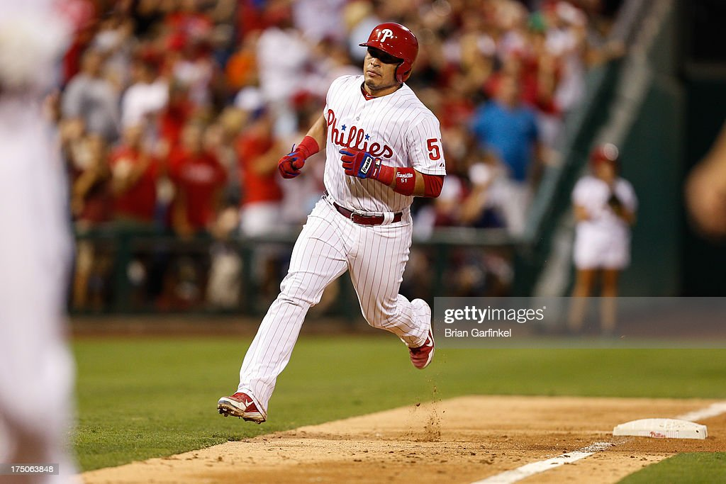 Carlos Ruiz #51 of the Philadelphia Phillies rounds third base after hitting a two run home run in the fourth inning of the game against the San Francisco Giants at Citizens Bank Park on July 30, 2013 in Philadelphia, Pennsylvania.