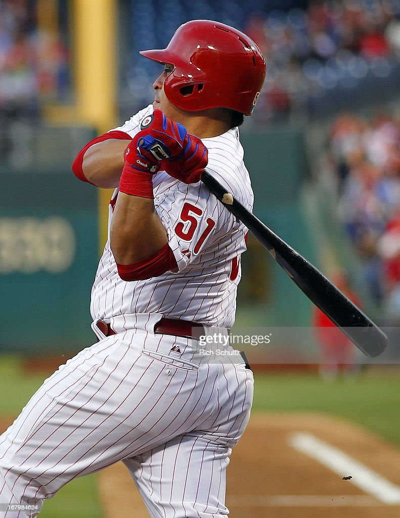 Carlos Ruiz #51 of the Philadelphia Phillies singles in the second inning against the Miami Marlins in a MLB baseball game on May 3, 2013 at Citizens Bank Park in Philadelphia, Pennsylvania.