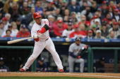 Carlos Ruiz of the Philadelphia Phillies swings the bat during the game against the Washington Nationals on opening day March 31 2008 at Citizens...