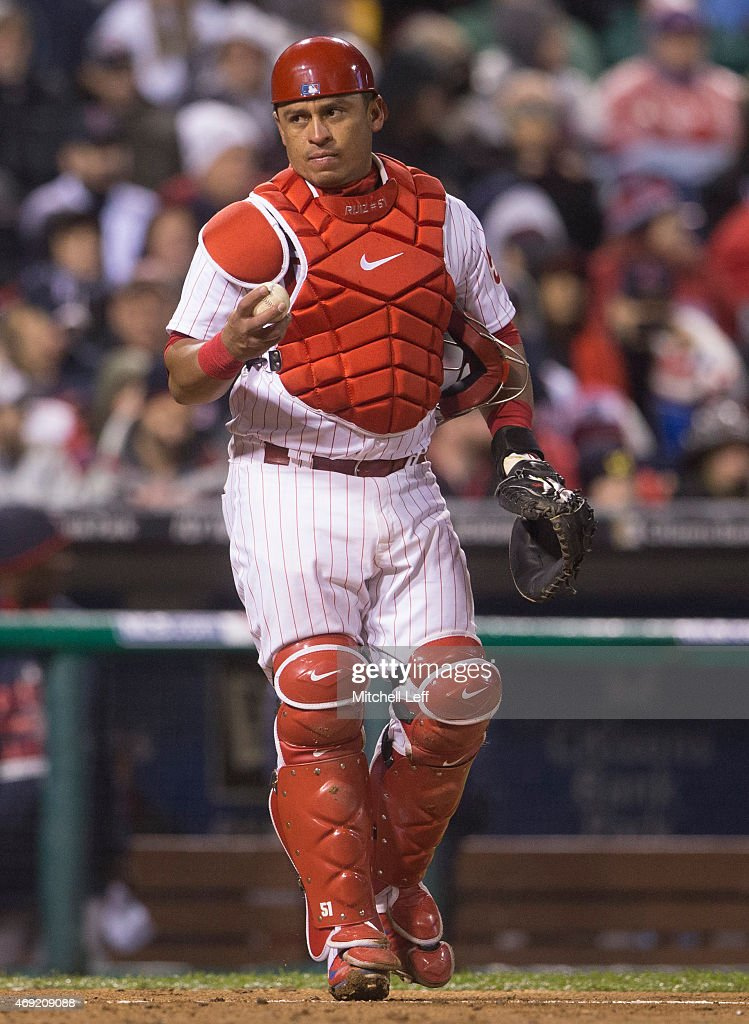 <a gi-track='captionPersonalityLinkClicked' href=/galleries/search?phrase=Carlos+Ruiz+-+Baseball+Player&family=editorial&specificpeople=216605 ng-click='$event.stopPropagation()'>Carlos Ruiz</a> #51 of the Philadelphia Phillies throws the ball back to the pitcher in the game against the Boston Red Sox at Citizens Bank Park on April 8, 2015 in Philadelphia, Pennsylvania.
