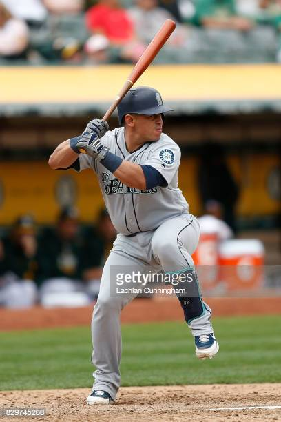 Carlos Ruiz of the Seattle Mariners at bat in the ninth inning against the Oakland Athletics at Oakland Alameda Coliseum on August 9 2017 in Oakland...