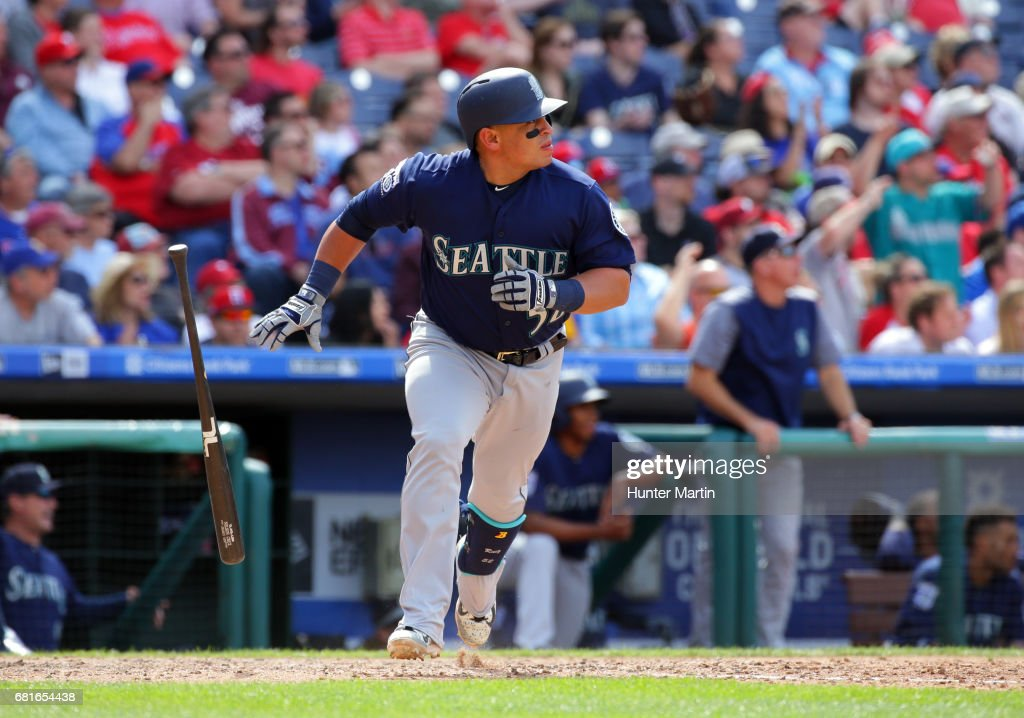 Carlos Ruiz #52 of the Seattle Mariners hits a three-run double in the seventh inning during a game against the Philadelphia Phillies at Citizens Bank Park on May 10, 2017 in Philadelphia, Pennsylvania. The Mariners won 11-6.