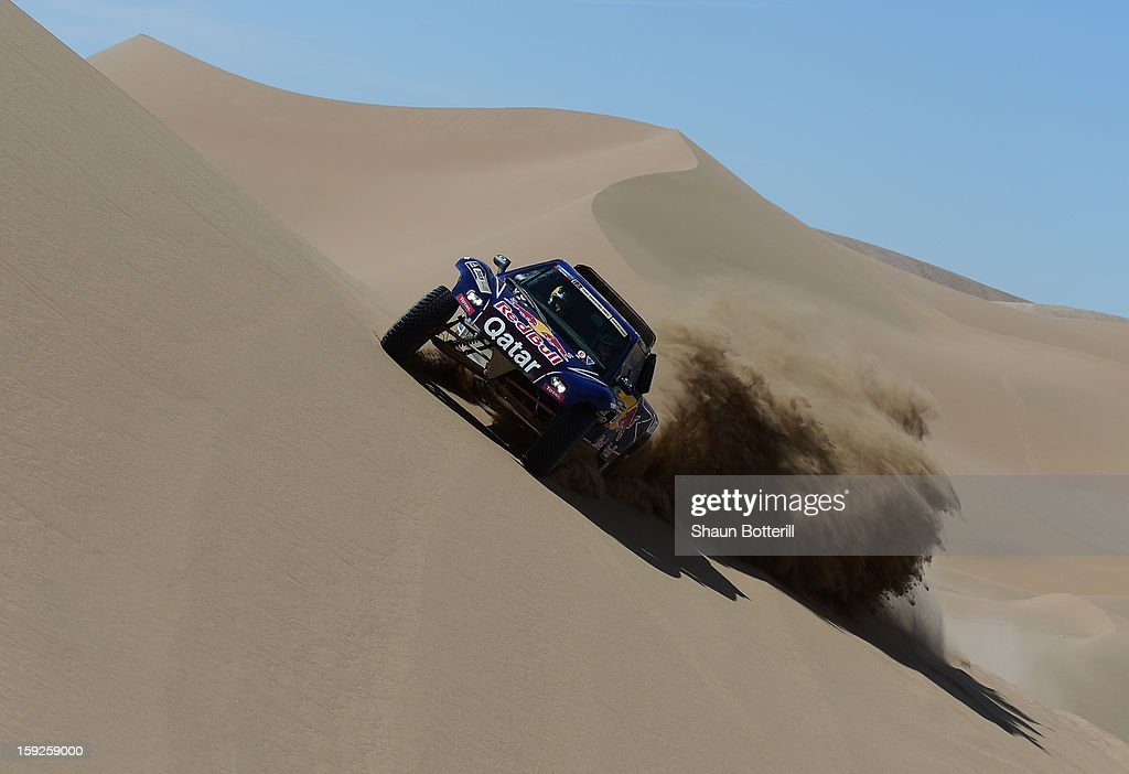 <a gi-track='captionPersonalityLinkClicked' href=/galleries/search?phrase=Carlos+Sainz+-+Born+1962&family=editorial&specificpeople=14996439 ng-click='$event.stopPropagation()'>Carlos Sainz</a> and co-driver Timo Gottschalk of team Buggy compete in stage 6 from Arica to Calama during the 2013 Dakar Rally on January 10, 2013 in Arica, Chile.