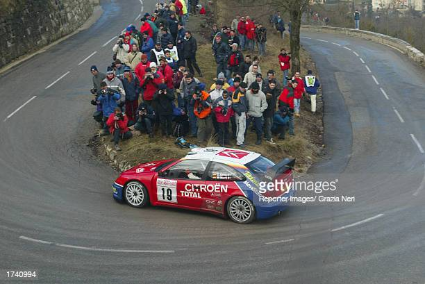 Carlos Sainz in his Citroen Xsara during the shakedown of the Monte Carlo Rally the first stage of the FIA World Rally Championship in Monte Carlo on...