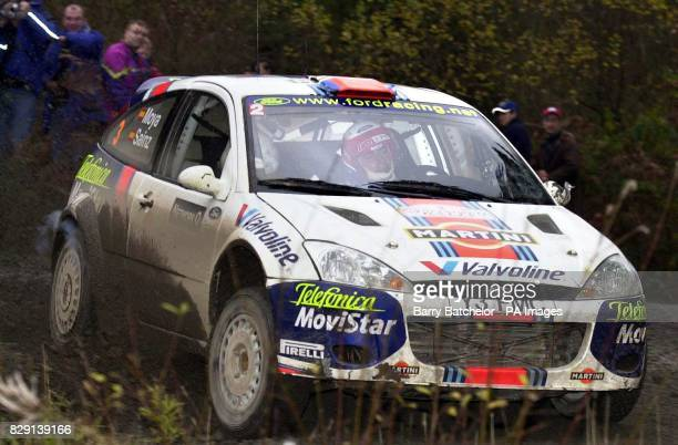 Carlos Sainz in his Ford Focus on the Resolfenin stage of the Network Q Rally of Great Britain