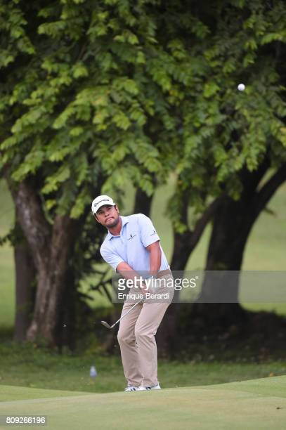 Carlos Sainz Jr of the United States chips up to the first hole during the third round of the PGA TOUR Latinoamerica BMW Jamaica Classic at Cinnamon...