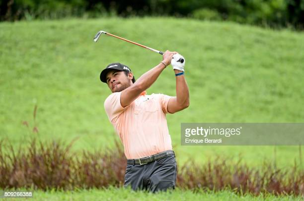 Carlos Sainz Jr of the United States tees off on the 17th hole during the third round of the PGA TOUR Latinoamerica BMW Jamaica Classic at Cinnamon...