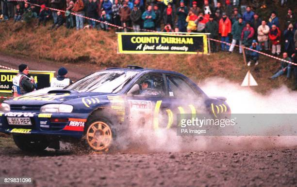 Carlos Sainz of Portugal in his Subaru tackling the Special Stage in Hamsterley Forest today during the RAC Rally Photo PA