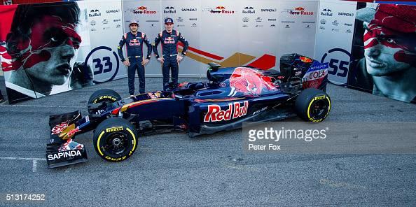 Carlos Sainz of Scuderia Toro Rosso and Spain and Max Verstappen of Scuderia Toro Rosso and The Netherlands during the Scuderia Toro Rosso STR11...