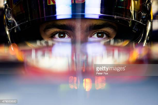 Carlos Sainz of Scuderia Toro Rosso and Spain during practice for the Formula One Grand Prix of Great Britain at Silverstone Circuit on July 3 2015...