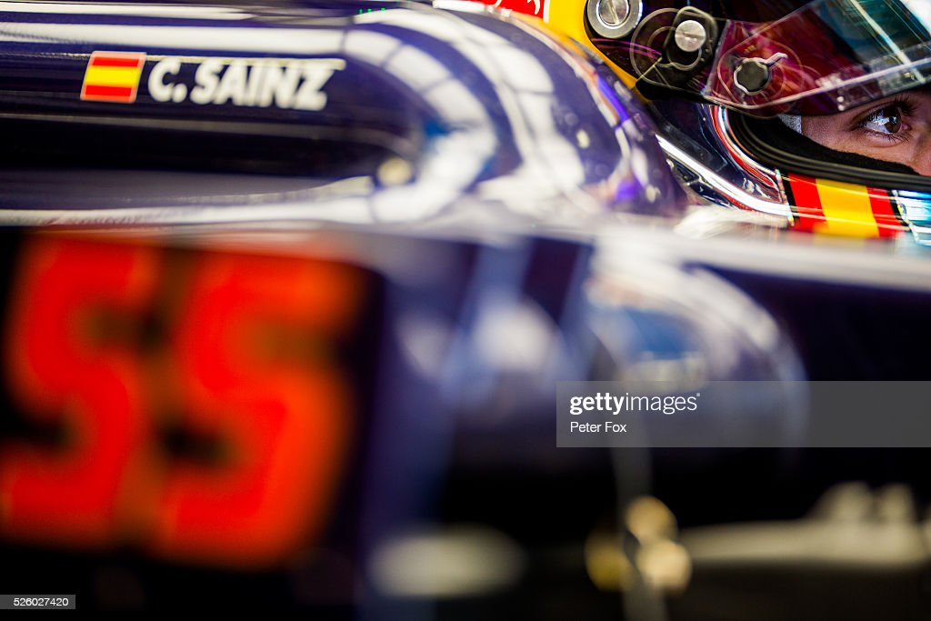 Carlos Sainz of Scuderia Toro Rosso and Spain during practice for the Formula One Grand Prix of Russia at Sochi Autodrom on April 29, 2016 in Sochi, Russia.