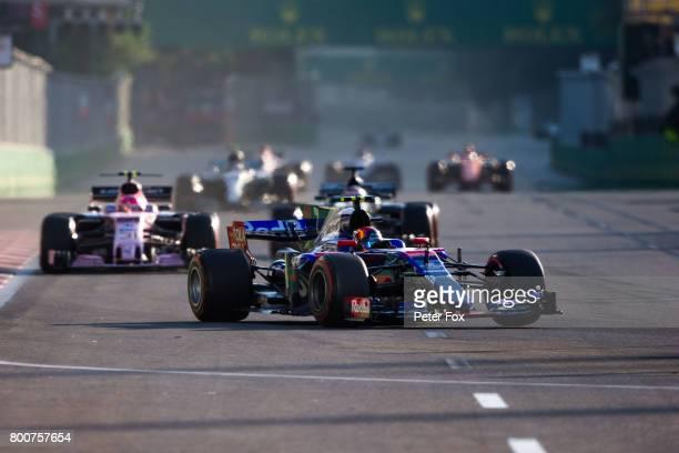 Carlos Sainz of Scuderia Toro Rosso and Spain during the Azerbaijan Formula One Grand Prix at Baku City Circuit on June 25 2017 in Baku Azerbaijan