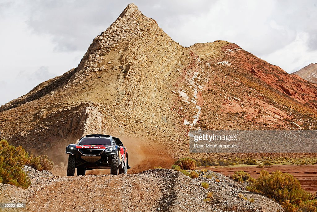 Carlos Sainz of Spain and Lucas Cruz of Spain in the PEUGEOT 2008 DKR for TEAM PEUGEOT TOTAL compete on day 4 in the San Salvador de Jujuy stage four...