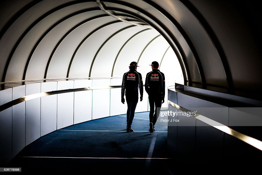 Carlos Sainz of Spain and Max Verstappen of The Netherlands both of Scuderia Toro Rosso during the Formula One Grand Prix of Russia at Sochi Autodrom on May 1, 2016 in Sochi, Russia.