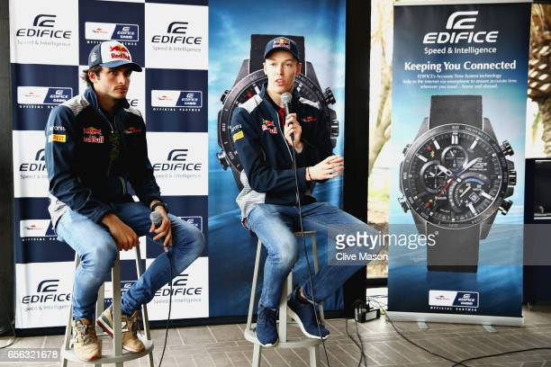 Carlos Sainz of Spain and Scuderia Toro Rosso and Daniil Kvyat of Russia and Scuderia Toro Rosso at the Casio Lifesaver Challenge during previews to...