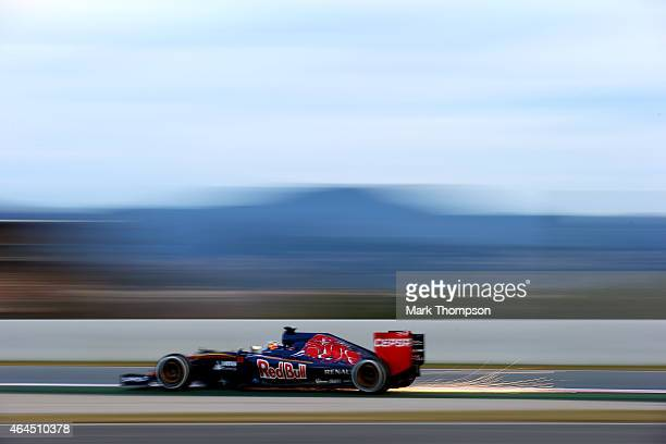 Carlos Sainz of Spain and Scuderia Toro Rosso drives during day one of the final Formula One Winter Testing at Circuit de Catalunya on February 26...