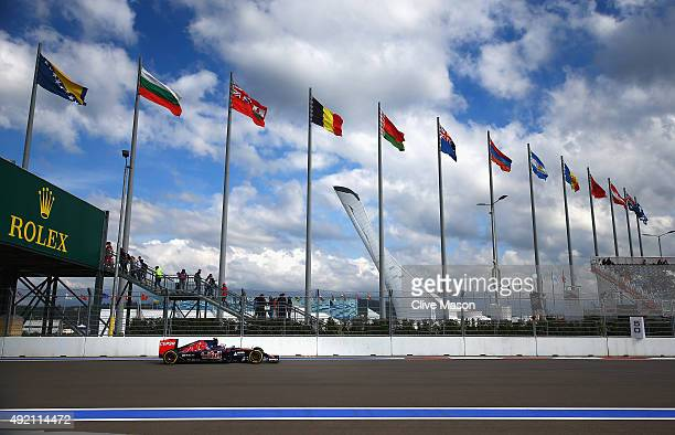 Carlos Sainz of Spain and Scuderia Toro Rosso drives during final practice for the Formula One Grand Prix of Russia at Sochi Autodrom on October 10...