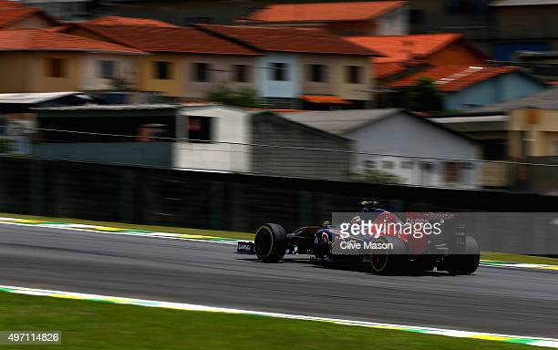 Carlos Sainz of Spain and Scuderia Toro Rosso drives during final practice for the Formula One Grand Prix of Brazil at Autodromo Jose Carlos Pace on...