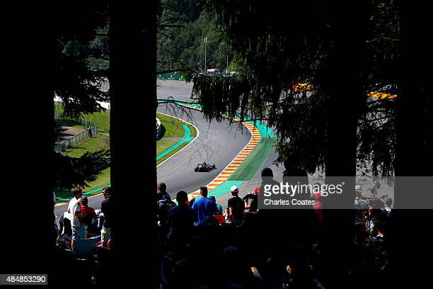 Carlos Sainz of Spain and Scuderia Toro Rosso drives during qualifying for the Formula One Grand Prix of Belgium at Circuit de SpaFrancorchamps on...