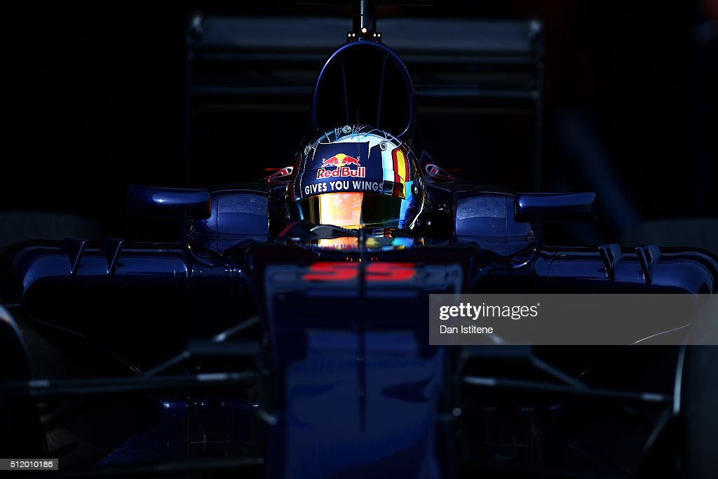 Carlos Sainz of Spain and Scuderia Toro Rosso exits the garage during day three of F1 winter testing at Circuit de Catalunya on February 24 2016 in...