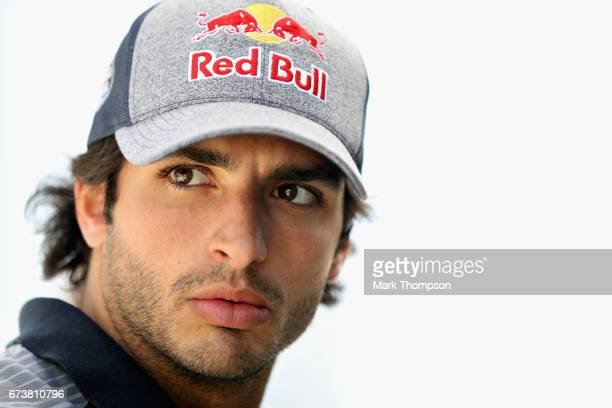 Carlos Sainz of Spain and Scuderia Toro Rosso in the Paddock during previews to the Formula One Grand Prix of Russia on April 27 2017 in Sochi Russia