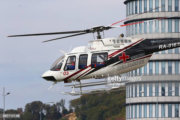 Carlos Sainz of Spain and Scuderia Toro Rosso is airlifted to hospital in a helicopter after he crashed during final practice for the Formula One...